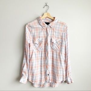 Rails Pink Blue Flannel Shirt Blouse Top XS Small